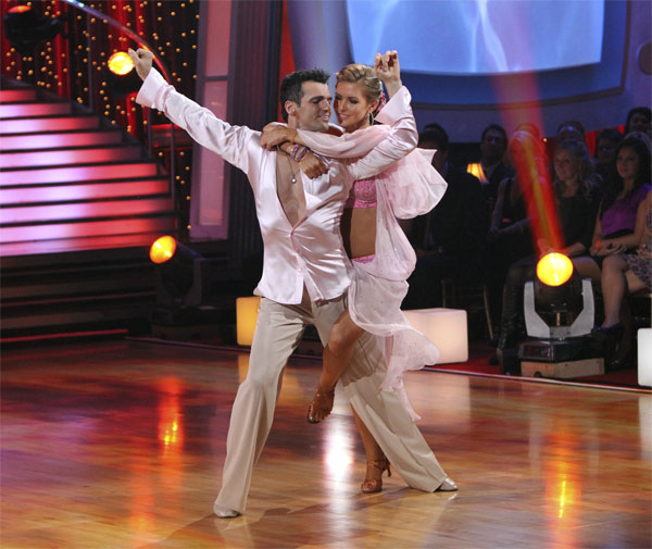 "<div class=""meta ""><span class=""caption-text "">Audrina Patridge and Tony Dovolani perform to the theme song from her former reality show 'The Hills' on 'Dancing With the Stars,' Monday, Oct. 18, 2010. The judges gave the couple 23 points out of 30. (ABC Photo/Adam Larkey)</span></div>"