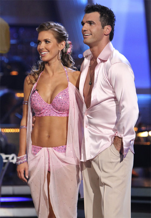 "<div class=""meta image-caption""><div class=""origin-logo origin-image ""><span></span></div><span class=""caption-text"">Audrina Patridge and Tony Dovolani perform to the theme song from her former reality show 'The Hills' on 'Dancing With the Stars,' Monday, Oct. 18, 2010. The judges gave the couple 23 points out of 30. (ABC Photo/Adam Larkey)</span></div>"