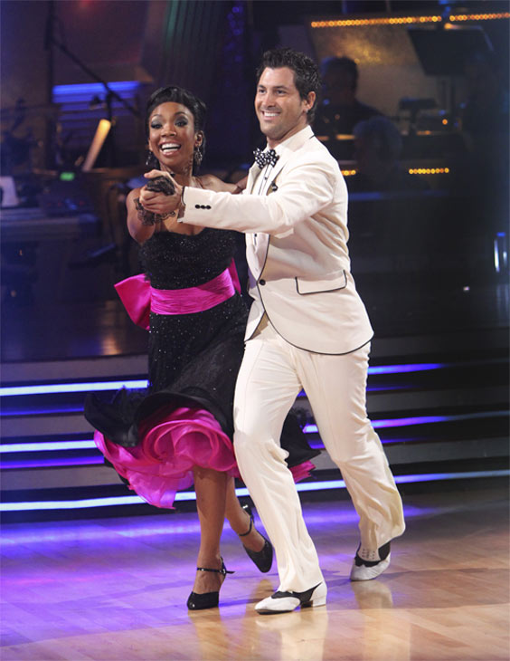 Brandy and Maksim Chmerkovskiy perform an encore of their top scoring Quickstep to the 'Friends' theme song, 'I'll Be There For You' on 'Dancing With the Stars: The Results Show,' Tuesday, Oct. 19, 2010.
