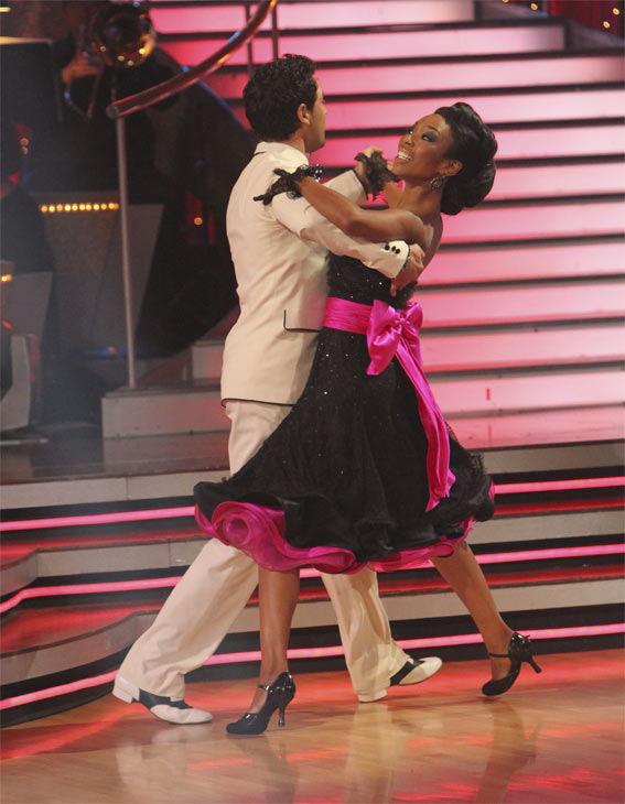 "<div class=""meta ""><span class=""caption-text "">Brandy and Maksim Chmerkovskiy perform an encore of their top scoring Quickstep to the 'Friends' theme song, 'I'll Be There For You' on 'Dancing With the Stars: The Results Show,' Tuesday, Oct. 19, 2010. (ABC Photo/Adam Larkey)</span></div>"