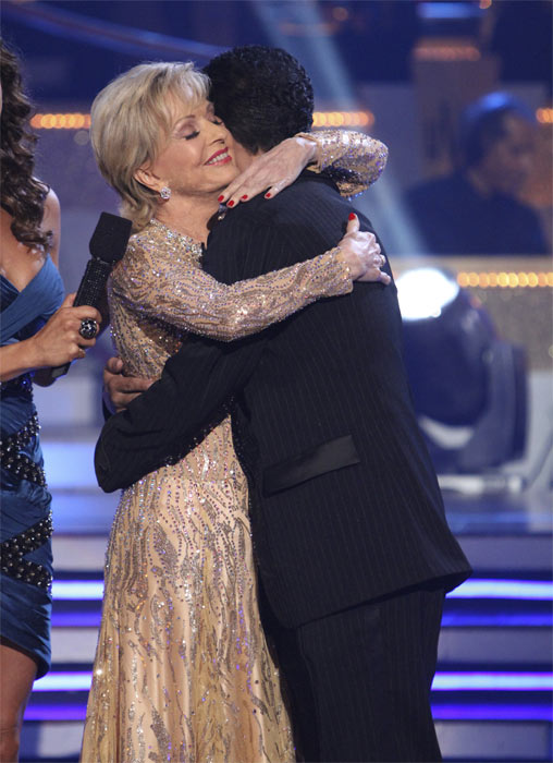 Florence Henderson and Corky Ballas react to being eliminated on 'Dancing With the Stars: The Results Show,' Tuesday, Oct. 19, 2010. The judges gave the couple 21 points out of 30.