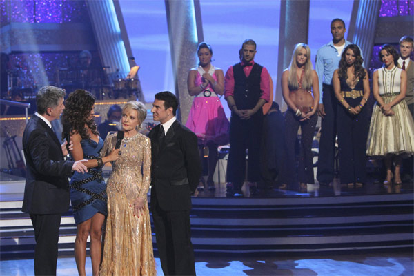 Florence Henderson and Corky Ballas, with hosts Tom Bergeron and Brooke Burke, react to being eliminated on &#39;Dancing With the Stars: The Results Show,&#39; Tuesday, Oct. 19, 2010. <span class=meta>(ABC Photo&#47;Adam Larkey)</span>