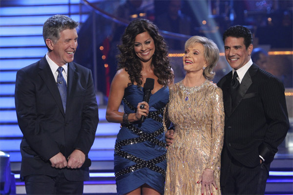 Florence Henderson and Corky Ballas, with hosts Tom Bergeron and Brooke Burke, react to being eliminated on 'Dancing With the Stars: The Results Show,' Tuesday, Oct. 19, 2010.