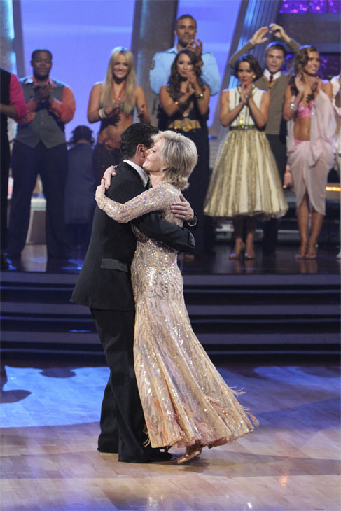 "<div class=""meta ""><span class=""caption-text "">Florence Henderson and Corky Ballas take their last spin on the dance floor after being eliminated on 'Dancing With the Stars: The Results Show,' Tuesday, Oct. 19, 2010. (ABC Photo/Adam Larkey)</span></div>"