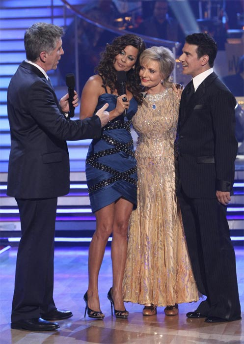 "<div class=""meta ""><span class=""caption-text "">Florence Henderson and Corky Ballas, with hosts Tom Bergeron and Brooke Burke, react to being eliminated on 'Dancing With the Stars: The Results Show,' Tuesday, Oct. 19, 2010. (ABC Photo/Adam Larkey)</span></div>"