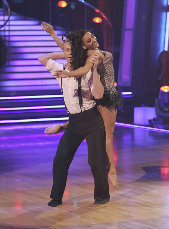 "<div class=""meta ""><span class=""caption-text "">Professionals Scott Myrick and Ashley Gonzales dance to Jason Derulo's contemporary version of the classic song 'Georgia On My Mind' on 'Dancing With the Stars: The Results Show,' Tuesday, Oct. 19, 2010. (ABC Photo/Adam Larkey)</span></div>"