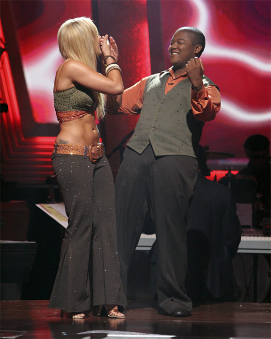 Kyle Massey and Lacey Schwimmer react to being safe on 'Dancing With the Stars: The Results Show,' Tuesday, Oct. 19, 2010. The judges gave the couple 20 points out of 30.