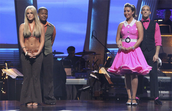 Bristol Palin, Mark Ballas, Kyle Massey and Lacey Schwimmer wait to hear their fate on 'Dancing With the Stars: The Results Show,' Tuesday, Oct. 19, 2010.