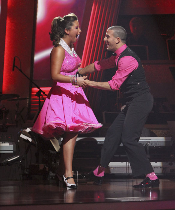 Bristol Palin and Mark Ballas react to being safe on 'Dancing With the Stars: The Results Show,' Tuesday, Oct. 19, 2010. The judges gave the couple 18 points out of 30.