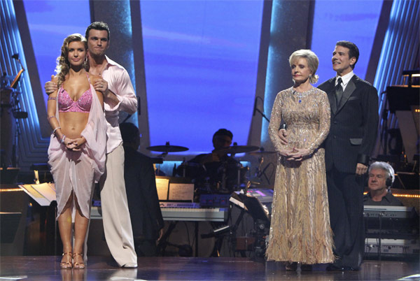 "<div class=""meta ""><span class=""caption-text "">Audrina Patridge, Tony Dovolani, Florence Henderson and Corky Ballas wait to hear their fate on 'Dancing With the Stars: The Results Show,' Tuesday, Oct. 19, 2010. (ABC Photo/Adam Larkey)</span></div>"