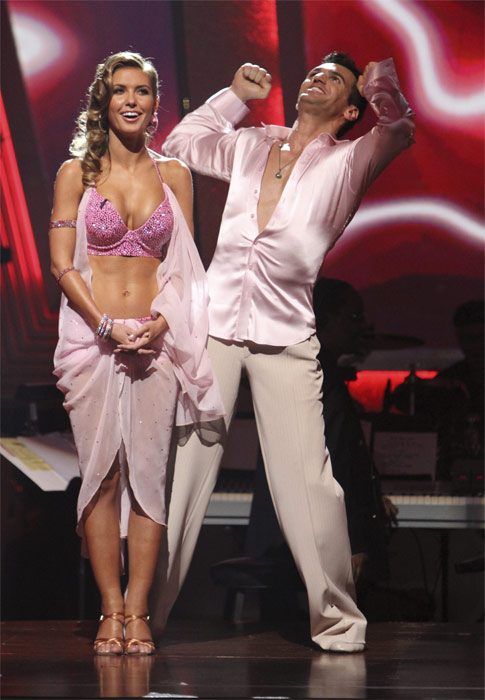 Audrina Patridge and Tony Dovolani react to being safe on 'Dancing With the Stars: The Results Show,' Tuesday, Oct. 19, 2010. The judges gave the couple 23 points out of 30.