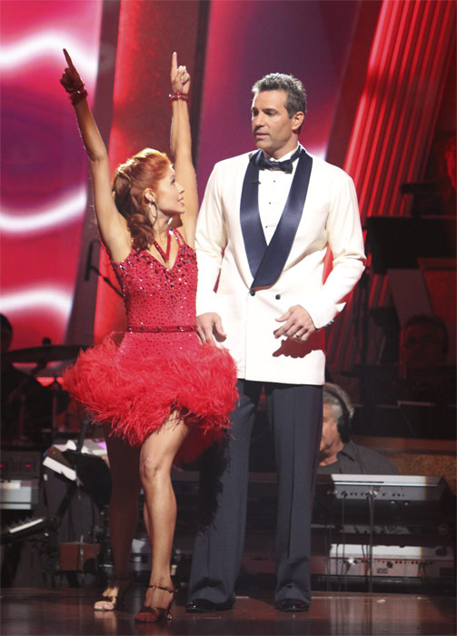 Kurt Warner and Anna Trebunskaya react to being safe on 'Dancing With the Stars: The Results Show,' Tuesday, Oct. 19, 2010. The judges gave the couple 24 points out of 30.