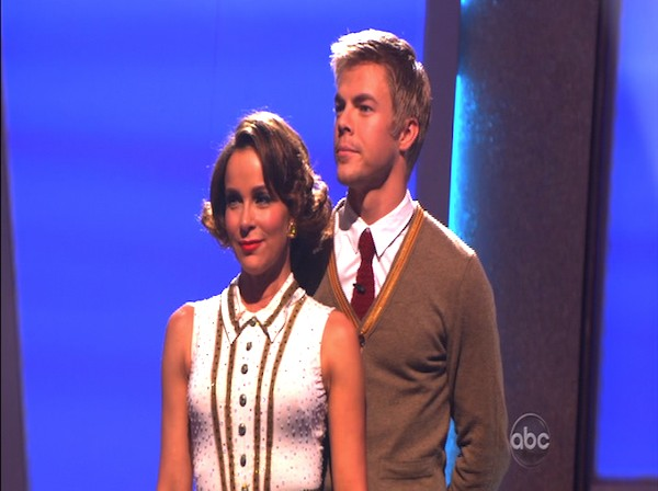 Jennifer Grey and Derek Hough wait to hear their fate on &#39;Dancing With the Stars: The Results Show,&#39; Tuesday, Oct. 19, 2010. The judges gave the couple 25 points out of 30. <span class=meta>(KABC Photo)</span>
