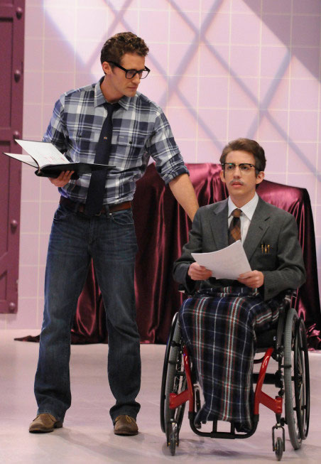 "<div class=""meta ""><span class=""caption-text "">Mr. Schuester (Matthew Morrison), rehearses with Artie (Kevin McHale) for the 'Rocky Horror' episode of 'Glee' airing Tuesday, October 26. (Fox/Adam Rose)</span></div>"