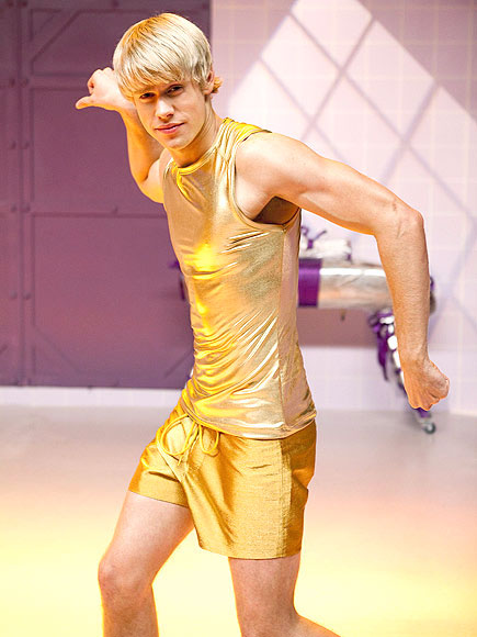 "<div class=""meta ""><span class=""caption-text "">Chord Overstreet as Rocky in the 'Rocky Horror' episode of 'Glee' airing Tuesday, October 26. (Fox/Adam Rose)</span></div>"