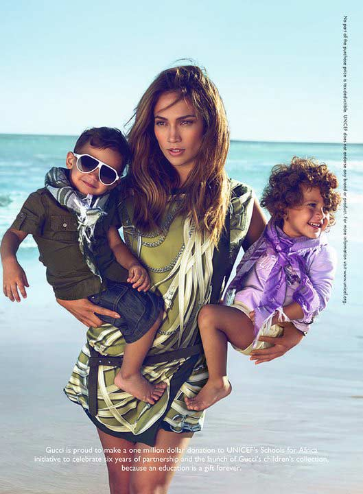 Jennifer Lopez and her twins, Emme and Max, star in a Gucci's ad for its Spring/Summer 2011 children's line.