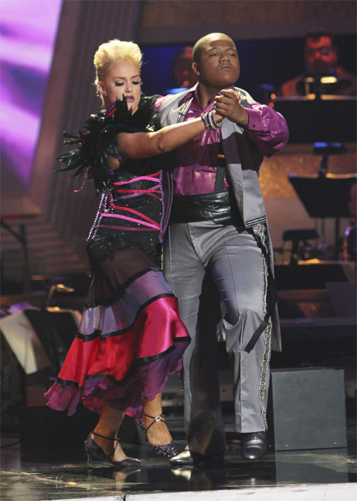 Kyle Massey and Lacey Schwimmer perform on &#39;Dancing With the Stars,&#39; Monday, Oct. 25, 2010. The judges gave the couple 23 out of 30 for individual and 7 points for the dance marathon for a total of 30. <span class=meta>(ABC&#47;Adam Larkey)</span>