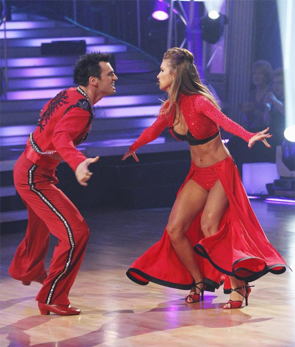 Audrina Patridge and Tony Dovolani perform on 'Dancing With the Stars,' Monday, Oct. 25, 2010. The judges gave the couple 24 out of 30 for individual and 8 points for the dance marathon for a total of 32.