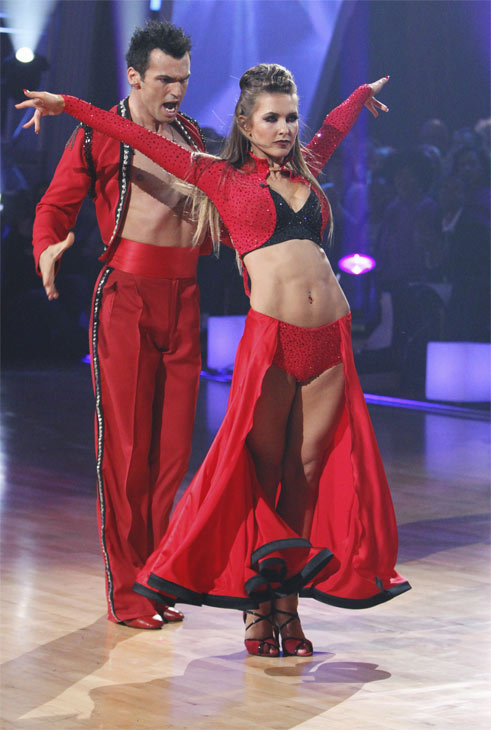 "<div class=""meta ""><span class=""caption-text "">Audrina Patridge and Tony Dovolani perform on 'Dancing With the Stars,' Monday, Oct. 25, 2010. The judges gave the couple 24 out of 30 for individual and 8 points for the dance marathon for a total of 32. (ABC Photo/Adam Larkey)</span></div>"