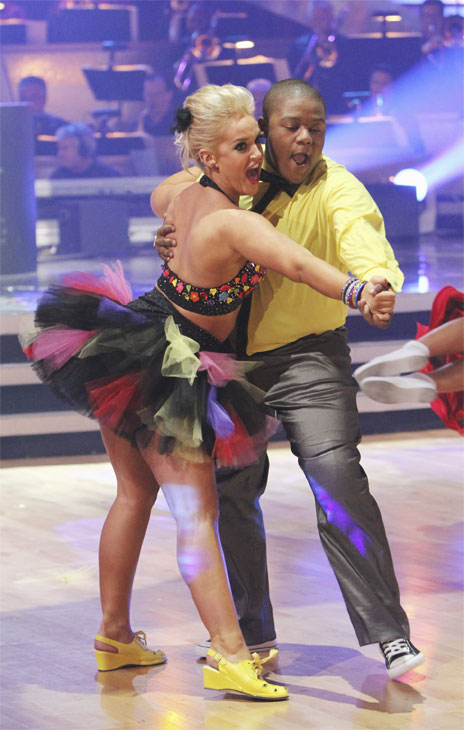 "<div class=""meta image-caption""><div class=""origin-logo origin-image ""><span></span></div><span class=""caption-text"">Kyle Massey and Lacey Schwimmer perform during the dance marathon on 'Dancing With the Stars,' Monday, Oct. 25, 2010. (ABC Photo/Adam Larkey)</span></div>"