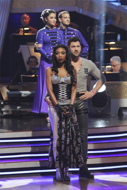 Brandy, Maksim Chmerkovskiy, Bristol Palin and Mark Ballas wait to hear their fate on 'Dancing With the Stars: The Results Show,' Tuesday, Oct. 26, 2010.