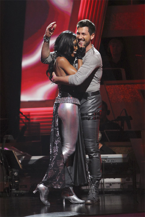 Brandy and Maksim Chmerkovskiy react to being safe on &#39;Dancing With the Stars: The Results Show,&#39; Tuesday, Oct. 26, 2010. The judges gave the couple 26 out of 30 for individual and 10 points for winning dance marathon for a total of 36. <span class=meta>(ABC Photo&#47;Adam Larkey)</span>