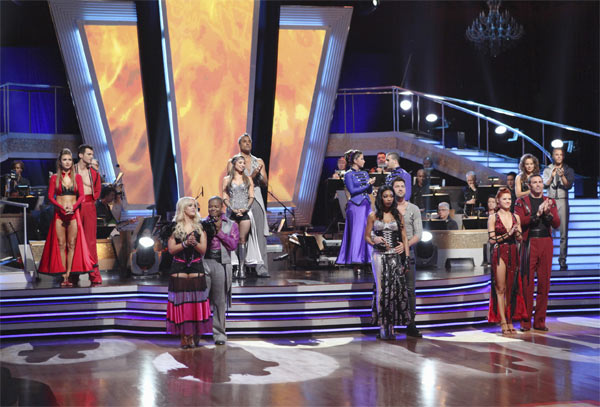 Audrina Patridge, Tony Dovolani, Lacey Schwimmer, Kyle Massey, Cheryl Burke, Rick Fox, Bristol Palin, Brandy, Maksim Chmerkovskiy, Mark Ballas, Anna Trebunskaya, Kurt Warner, Jennifer Grey and Derek Hough on 'Dancing With the Stars: The Results Show.'
