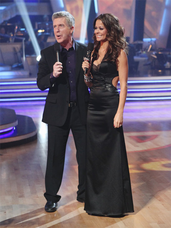 Hosts Tom Bergeron and Brooke Burke are seen on...