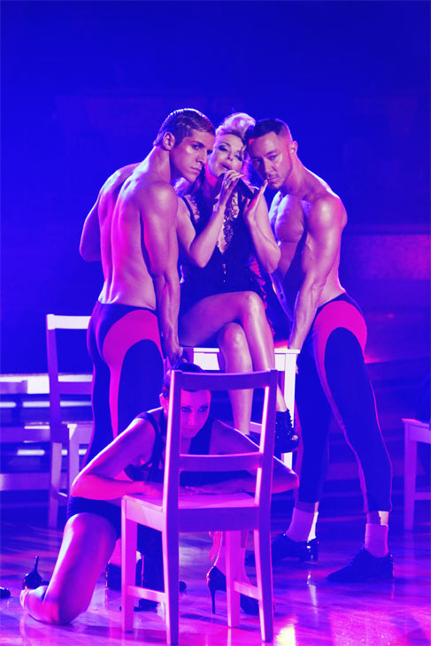 "<div class=""meta image-caption""><div class=""origin-logo origin-image ""><span></span></div><span class=""caption-text"">International pop icon Kylie Minogue performed her new single, 'Get Outta My Way,' following her smash hit 'All the Lovers' on 'Dancing With the Stars: The Results Show,' Tuesday, Oct. 26, 2010. (ABC Photo/Adam Larkey)</span></div>"