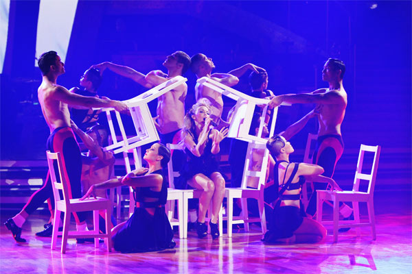 International pop icon Kylie Minogue performed her new single, 'Get Outta My Way,' following her smash hit 'All the Lovers' on 'Dancing With the Stars: The Results Show,' Tuesday, Oct. 26, 2010.