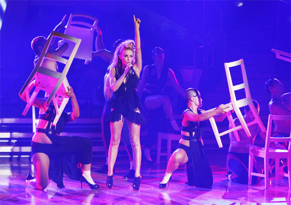 International pop icon Kylie Minogue performed her new single, &#39;Get Outta My Way,&#39; following her smash hit &#39;All the Lovers&#39; on &#39;Dancing With the Stars: The Results Show,&#39; Tuesday, Oct. 26, 2010. <span class=meta>(ABC Photo&#47;Adam Larkey)</span>