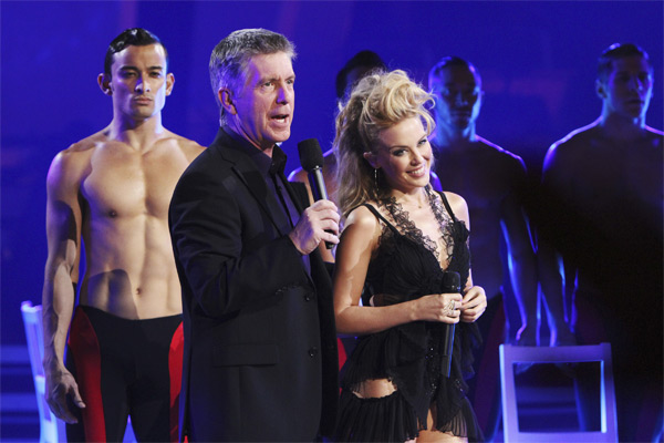 Singer Kylie Minogue and host Tom Bergeron are seen on 'Dancing With the Stars: The Results Show,' Tuesday, Oct. 26, 2010.