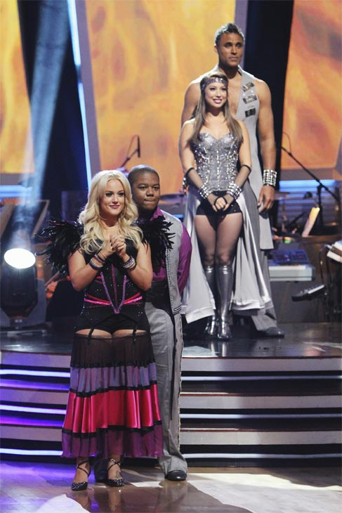 "<div class=""meta ""><span class=""caption-text "">Kyle Massey, Lacey Schwimmer, Rick Fox and Cheryl Burke wait to hear their fate on 'Dancing With the Stars: The Results Show,' Tuesday, Oct. 26, 2010. (ABC Photo/Adam Larkey)</span></div>"
