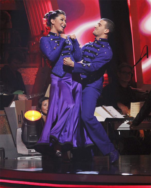 Bristol Palin and Mark Ballas react to being safe on &#39;Dancing With the Stars: The Results Show,&#39; Tuesday, Oct. 26, 2010. The judges gave the couple 23 out of 30 for individual and 5 points for the dance marathon for a total of 28. <span class=meta>(ABC Photo&#47;Adam Larkey)</span>