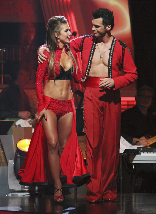 Audrina Patridge and Tony Dovolani react to being eliminated on &#39;Dancing With the Stars: The Results Show,&#39; Tuesday, Oct. 26, 2010. The judges gave the couple 24 out of 30 for individual and 8 points for the dance marathon for a total of 32. <span class=meta>(ABC Photo&#47;Adam Larkey)</span>
