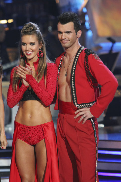 Audrina Patridge and Tony Dovolani react to being eliminated on 'Dancing With the Stars: The Results Show,' Tuesday, Oct. 26, 2010. The judges gave the couple 24 out of 30 for individual and 8 points for the dance marathon for a total of 32.