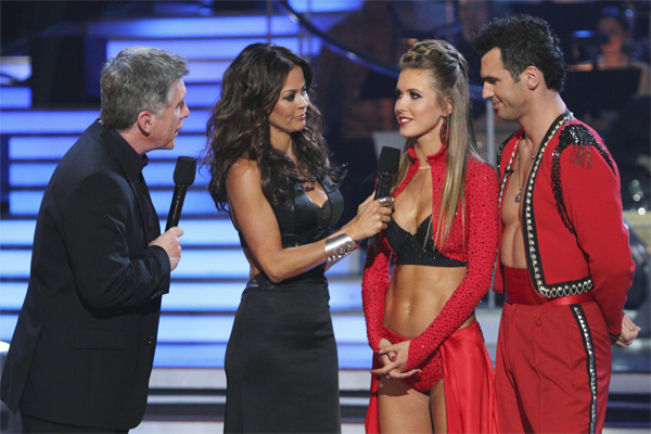 "<div class=""meta image-caption""><div class=""origin-logo origin-image ""><span></span></div><span class=""caption-text"">Audrina Patridge and Tony Dovolani, with hosts Tom Bergeron and Brooke Burke, react to being eliminated on 'Dancing With the Stars: The Results Show,' Tuesday, Oct. 26, 2010. The judges gave the couple 24 out of 30 for individual and 8 points for the dance marathon for a total of 32. (ABC Photo/Adam Larkey)</span></div>"