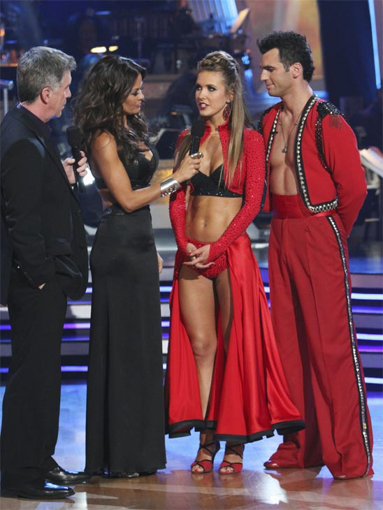 Audrina Patridge and Tony Dovolani, with hosts Tom Bergeron and Brooke Burke, react to being eliminated on &#39;Dancing With the Stars: The Results Show,&#39; Tuesday, Oct. 26, 2010. The judges gave the couple 24 out of 30 for individual and 8 points for the dance marathon for a total of 32. <span class=meta>(ABC Photo&#47;Adam Larkey)</span>