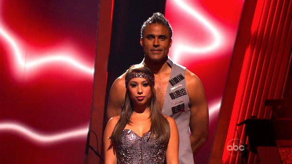 Rick Fox and Cheryl Burke wait to hear their...