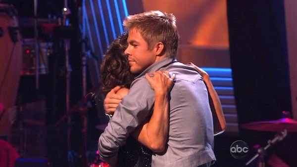 Jennifer Grey and Derek Hough react to being safe on &#39;Dancing With the Stars: The Results Show,&#39; Tuesday, Oct. 26, 2010. The judges gave the couple 20 out of 30 for individual and 9 points for the dance marathon for a total of 29. <span class=meta>(KABC Photo)</span>