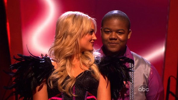 Kyle Massey and Lacey Schwimmer wait to hear their fate on &#39;Dancing With the Stars: The Results Show,&#39; Tuesday, Oct. 26, 2010. The judges gave the couple 23 out of 30 for individual and 7 points for the dance marathon for a total of 30. <span class=meta>(KABC Photo)</span>