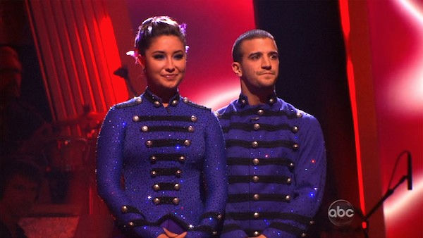 "<div class=""meta ""><span class=""caption-text "">Bristol Palin and Mark Ballas wait to hear their fate on 'Dancing With the Stars: The Results Show,' Tuesday, Oct. 26, 2010. The judges gave the couple 23 out of 30 for individual and 5 points for the dance marathon for a total of 28. (KABC Photo)</span></div>"