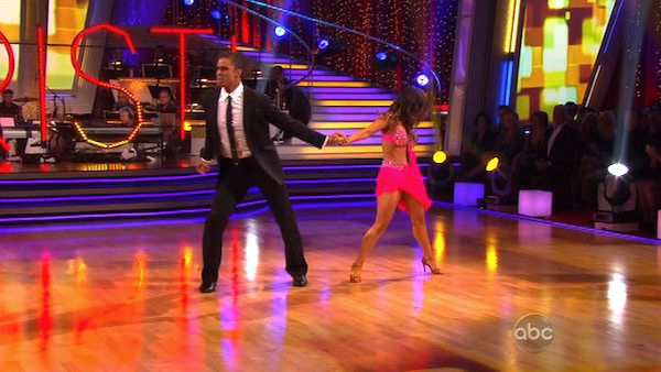 Rick Fox and Cheryl Burke perform on Team Apolo for the cha cha dance off on 'Dancing With the Stars,' Monday, Nov. 1, 2010. The team scored a total of 24 out of 30 for their performance.
