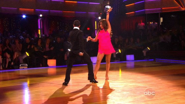 Bristol Palin and Mark Ballas perform on Team Apolo for the cha cha dance off on 'Dancing With the Stars,' Monday, Nov. 1, 2010. The team scored a total of 24 out of 30 for their performance.