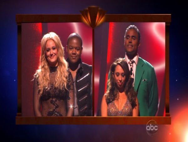 Kyle Massey, Lacey Schwimmer, Rick Fox, and Cheryl Burke wait to hear their fate on &#39;Dancing With the Stars: The Results Show,&#39; Tuesday, Nov. 2, 2010.  <span class=meta>(KABC Photo)</span>