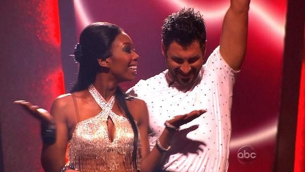 Brandy and Maksim Chmerkovskiy react to being on &#39;Dancing With the Stars: The Results Show,&#39; Tuesday, Nov. 2, 2010.  The judges gave the couple 37 out of 40 for individual and 27 points for winning dance marathon for a total 64 out of 70. <span class=meta>(KABC Photo)</span>