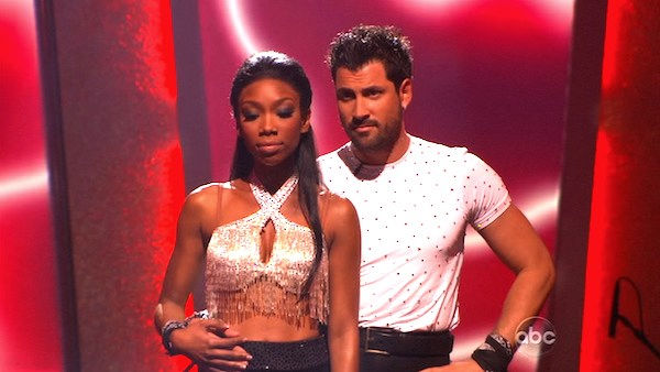 Brandy and Maksim Chmerkovskiy wait to hear their fate on &#39;Dancing With the Stars: The Results Show,&#39; Tuesday, Oct. 26, 2010. The judges gave the couple 37 out of 40 for individual and 27 points for winning dance marathon for a total 64 out of 70. <span class=meta>(KABC Photo)</span>
