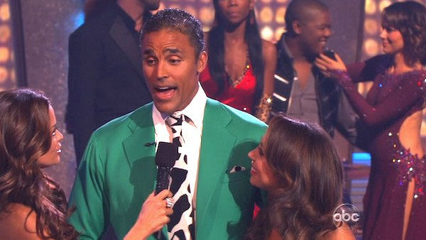Rick Fox and Cheryl Burke react to being eliminated on 'Dancing With the Stars: The Results Show,' Tuesday, Oct. 26, 2010. The judges gave the couple 37 out of 40 for individual and 24 points for winning dance marathon for a total 61 out of 70.