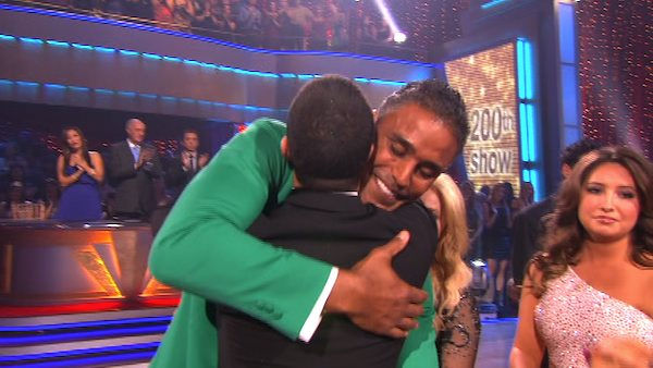 Rick Fox and Cheryl Burke react to being eliminated on &#39;Dancing With the Stars: The Results Show,&#39; Tuesday, Oct. 26, 2010. The judges gave the couple 37 out of 40 for individual and 24 points for winning dance marathon for a total 61 out of 70. <span class=meta>(KABC Photo)</span>
