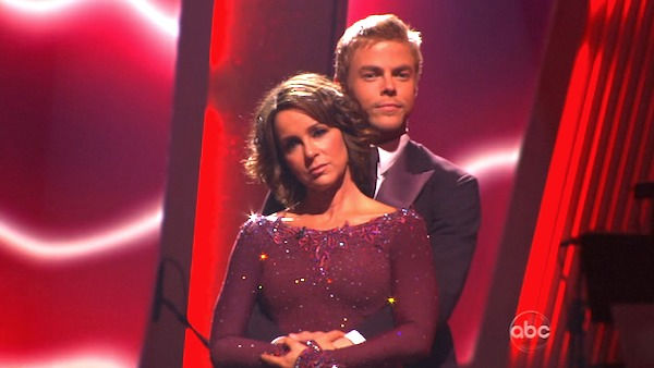 Jennifer Grey and Derek Hough wait to hear their fate on &#39;Dancing With the Stars: The Results Show,&#39; Tuesday, Nov. 2, 2010. The judges gave the couple 33 out of 40 for individual and 24 points for winning dance marathon for a total 57 out of 70. <span class=meta>(KABC Photo)</span>